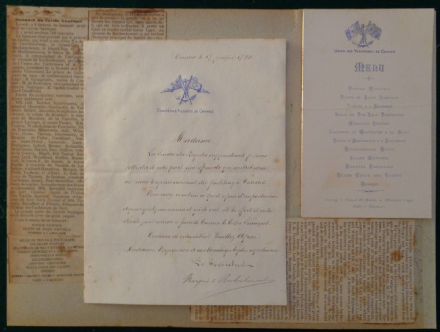 Rare Dinner Menu 'Union des Yachtsmen de Cannes' & Signed Letter Regatta Cannes